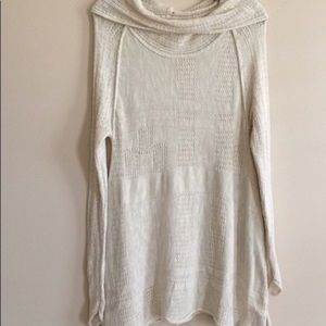 Cowl Neck Tunic Sweater, Rolled Edges, Split Sides